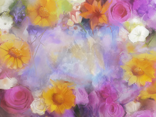 Vintage flowers. Water colour painting flowers