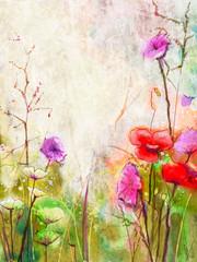 Akwarela abstrakcyjne czerwone kwiaty