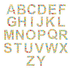 Vector Alphabets. Set letters of colorful bubbles or candy.