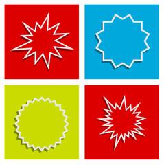 starburst splash star abstract background set