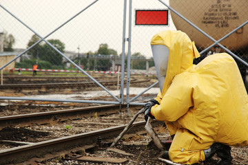 man outfit in biological protection suit