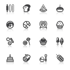 Bakery flat icons with reflection