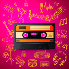cassette and hand draw misic icon
