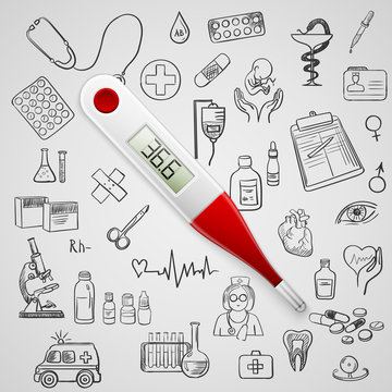 electronic thermometer and hand draw medicine icon