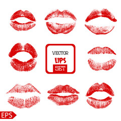 Print of pink lips set. Vector illustration on a white