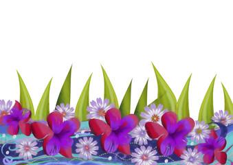 Floral background. Watercolor illustration.