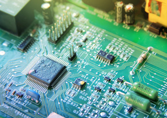 circuit board with various chips
