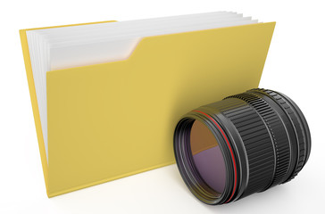 yellow folder with camera lens