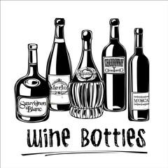 Vector illustration of wine bottles.