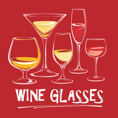 Vector illustration of wine glasses.