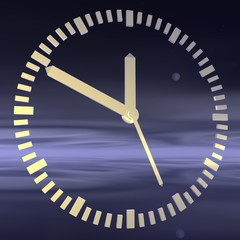 The clock on the background of the night sky.