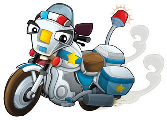 Cartoon motorcycle - caricature - illustration for the children
