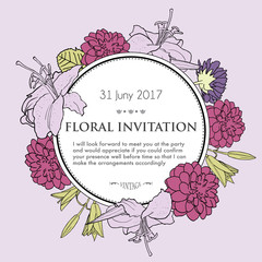 Vector hand drawn illustration of romantic floral background for
