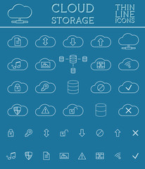 Cloud Storage Icons Set. Outlined. Thin line design for web and