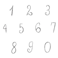 digits, numbers, vector, illustration, sketch