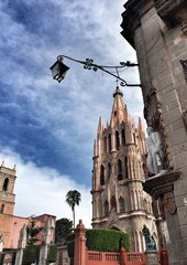 Pink gothic church in San Miguel de Allende Mexico