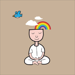 Man Meditation rainbow cloud