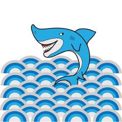 Shark wave cartoon