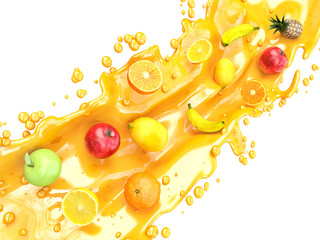 Different fruits and juice splashes. multifruit juice