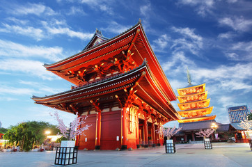 Foto auf Leinwand Tempel Asakusa temple with pagoda at night, Tokyo, Japan