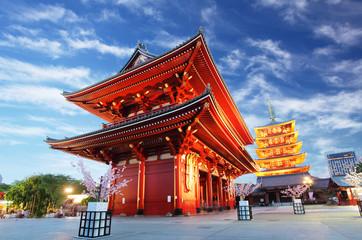 Foto op Canvas Temple Asakusa temple with pagoda at night, Tokyo, Japan