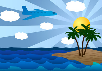 Island in the ocean and plane