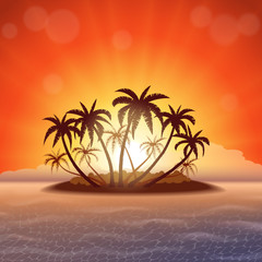 Wall Mural - Tropical island with palm trees at sunset, vector illustration