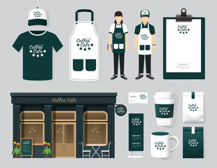 Vector buildings restaurant and cafe shop front design, mock-up
