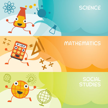 Education Characters Banner, Science, Math, Social