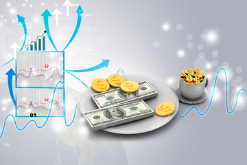 Dinner service with dollar. Financial concept on plate