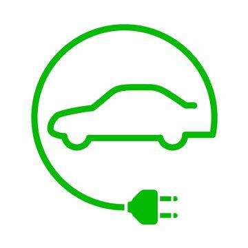 Icono aislado coche electrico verde