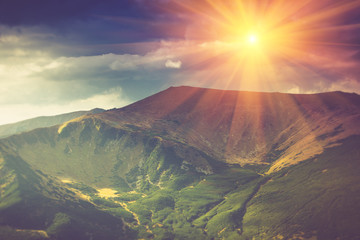 Beautiful summer landscape in the mountains at sunshine.