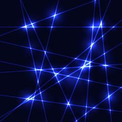 Glow neon blue laser on dark background