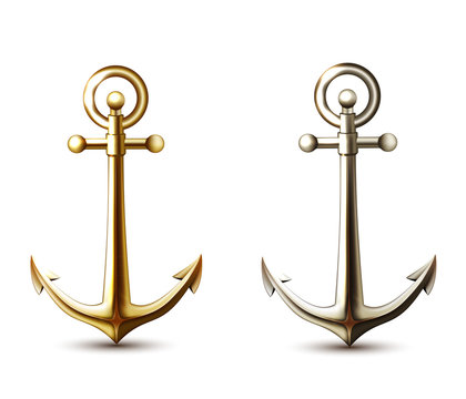 Silver and gold anchors.