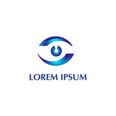 Vector logo design element on white background. Eye, optic