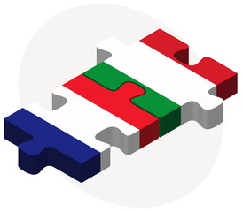 France and Italy Flags in puzzle