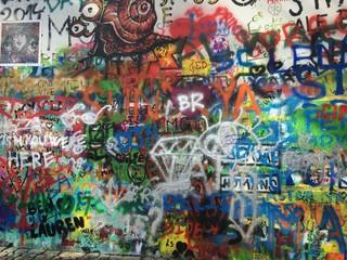 Fotobehang Graffiti collage Mur tag John Lennon