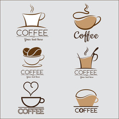 6 Set of coffee logo, labels, design templates