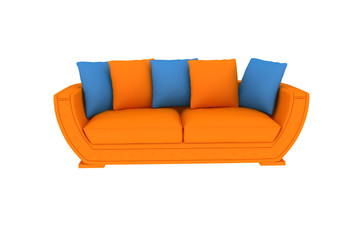 isolated orange sofa.