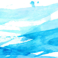 Blue watercolor texture with brush strokes and stains.