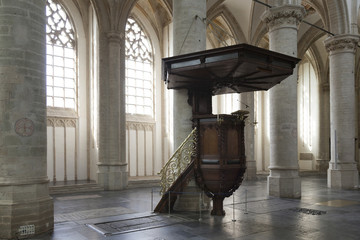 pulpit in interior of breda cathedral in holland