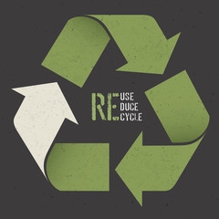 "Reuse conceptual symbol and ""Reuse, Reduce, Recycle"" text on Dar"