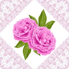 Vintage flower card with peonies