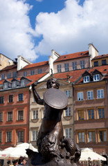 Siren Monument over blue sky, Old Town in Warsaw, Poland