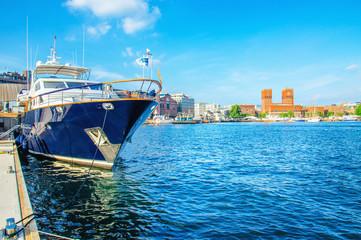 Boat in yacht harbour in Oslo, Norway