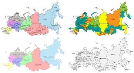 Political and regional map of Russia