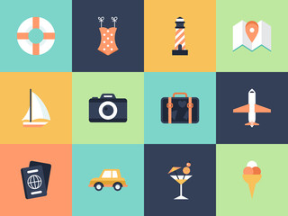 Flat modern icons for summer holiday vacation concept. Elements