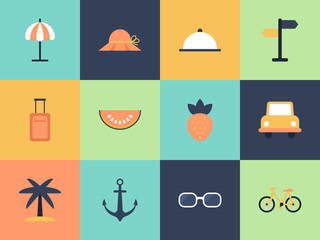Flat style icons for summer holiday vacation concept. Elements f