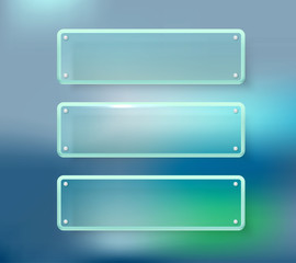 Advertising glass boards on blured background. Place your text