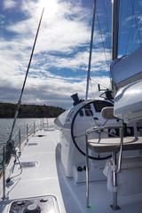 sailing boat in calm beautiful blue sea in croatia